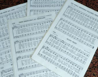 50 Vintage Hymnal Book Pages 25 Sheets of Music Paper Craft Supply Collage Altered Art DIY Religious Song Lyrics 1939 Gospel Book ~ 8335