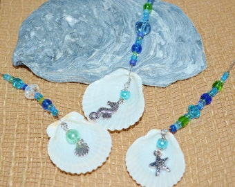 Sun Catchers//Christmas Ornaments Shells, Set of 3 Scallop Shell Ornaments, Beachy Christmas Ornaments, Blue & Green Shell Ornaments