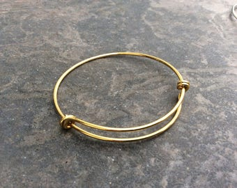 Antique Yellow Gold Double Loop Adjustable wire bangle bracelet blanks   2 1/2""