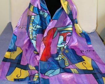 Vintage Picasso Abstract  Multi Color Long Polyester Scarf