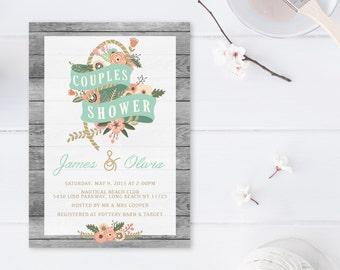 Couples Shower Invitation, Nautical Couples Shower Invitation, Bridal Shower, Printable Invitations, Floral Couples Shower Invite [223]
