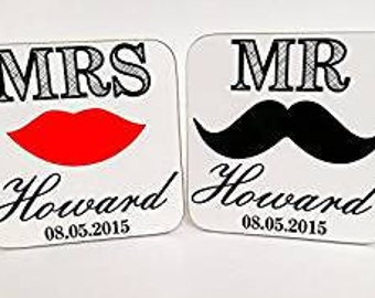 Personalised wooden wedding favour coasters present lips and moustache design wedding present Bride Groom