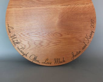 Live Well Laugh Often Love Much Cutting Board Engraved with Names and Wedding Date in Cherry, Walnut, Maple or White Oak Wood