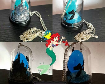 Little mermaid necklace. Charm necklace. Glow in the dark necklace. Dome scene necklace