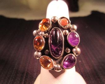 Cool Retro Sterling Silver Multi Gemstone Ring - Adjustable