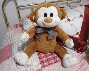 Barauch Box Shook Milo ONLY the Softest Brown Monkey 15 inches Plush Stuffed Animal in Excellent Condition    ON SALE !