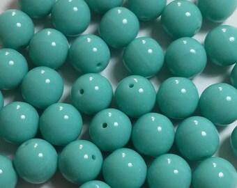 30pcs Turquoise Czech Glass Beads - 8mm Beads - Round Beads - GB293