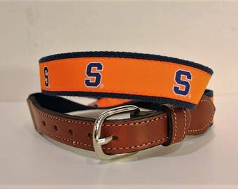 University of Syracuse  Men's  Web Leather Belt