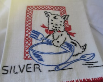 "Vintage Linen Kitchen towel an embroidered Scotty dog Silver cleaning towel Blue bowl and silverware red trim on both ends 14.5""x24"" Linen"