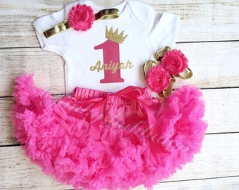 Personalised Pink and Gold Glitter Birthday Tutu Outfit, Headband, Baby Girl, Photoshoot, Photo Prop, First Birthday, Party, Gift Cake Smash