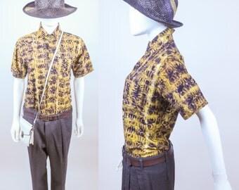 70s Afro Parisienne Geometric African wax print batik shirt