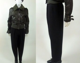 80s Sonya Rykiel The Americans pleated front wool knit high waist tailored pegged pants