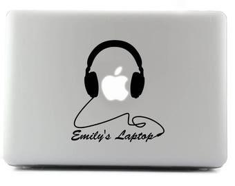 Personal Headphones, Emilys Laptop, Custom sticker, Decal sticker, MacBook, Viny Sticker, Apple Sticker, Custom Sticker, MacBook Decal