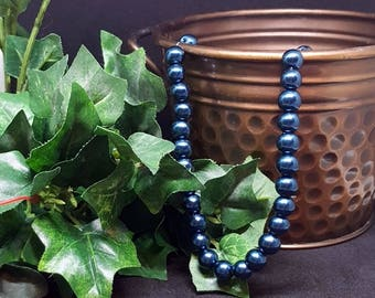 "Glass Pearl Beads ~NAVY BLUE~ 8mm Bead, 1mm Hole; approx.  16"" Strand (approx 55 beads)"