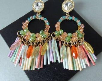 Multi-Coloured Beaded Pastel Tassel  Chandelier Statement Drop Earrings