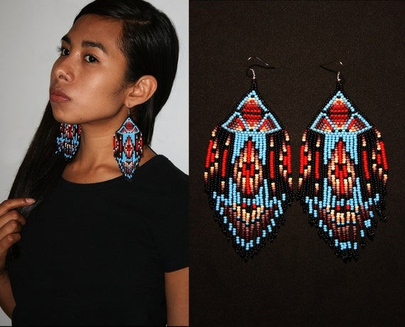 Tribal Aztec Earrings, Geometric Native American Beaded Earrings, Tribal High Fashion Earrings, Exotic Earrings, Seed Bead Earrings