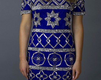 80's Vintage Sequin Embroidery Dress / Heavily beaded and sequined Silk Eiman dress / Blue Disco Sequin Dress/ Large