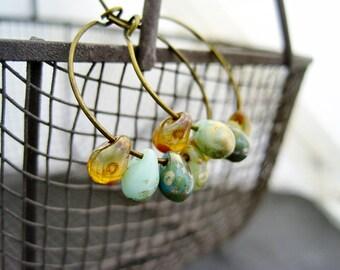 Hoop earrings teal turquoise mint topaz earrings vintage drops bronze earrings czech beads