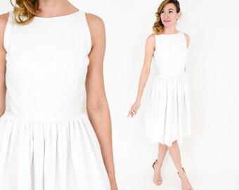 50s White Sleeveless Dress   White Eyelet Cotton Dress   Jonathan Logan   Small