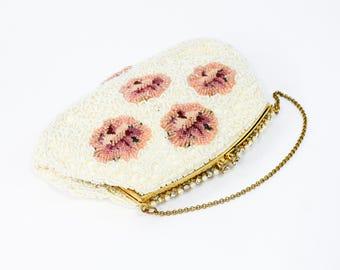 50s White Beaded Evening Bag | Pink Flowered Pearl Handbag | Jolles Original