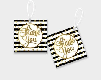 Thank You Favor Tags / Gift Tags - Black-White & Gold, Stripes and Dots - Digital File, DIY Print - Instant Download - #GSR