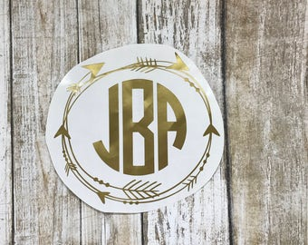 Arrow Circle Monogram / car decal / monogram decal / arrow decal / laptop decal / arrow border / personalized decal / monogram sticker