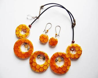 Set necklace and earrings in fancy tones FIMO polymer clay yellow/orange beeswax