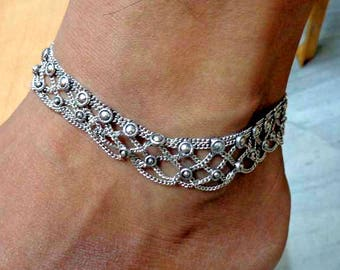Silver Anklet, Anklet, Ankle Chain, Anklet Bracelet, Foot Chain, Beach Anklet, Tribal Anklet, Gypsy Anklet,