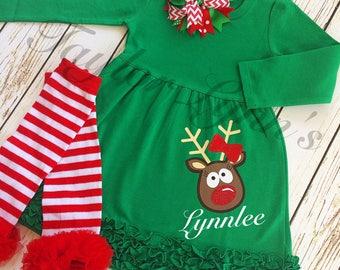 Girls Christmas dress, girls reindeer  dress, rudolph dress, girls deer dress, girls christmas outfit