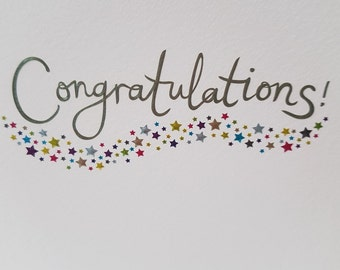 School Graduation card, Graduation card for him, Congratulations colorful foiled stars card, Graduation card for her,