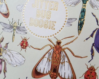 Hipster card Jitter Bug Boogie creepy crawlies, Bugs Bees and Dragonflies card, Coloured beetles square gold edged card, Music pun card