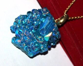Angel Titanium Aqua Aura Crystal Quartz Necklace / Quartz Cluster Necklace / Druzy necklace, Spirit Quartz Necklace / Gemstone Necklace PN43