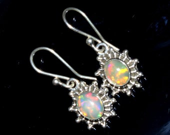 1 Inch Long 92.5 Sterling Silver Natural Multi Color Play Ethiopian Welo Fire Opal Earring, Smooth Oval Gemstone Cabochon Earring OPE04