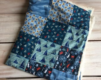Nautical minky baby blanket, ready to ship anchor baby quilt, car seat baby minky blanket, baby boy quilt, baby shower gift
