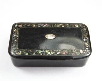 Antique Victorian papier mache snuff box inlaid with fine mother of pearl detail black lacquer lacquered