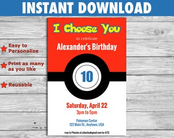 Pokemon Birthday Invitation - DIY Editable File you personalize at home - for children or adult parties - INSTANT DOWNLOAD
