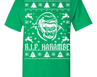 Rest in Peace Harambe Ugly Christmas Sweater Men's TEE Shirt 1551