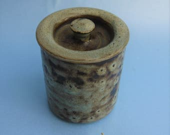 Vintage ABATY Handthrown Stoneware Honey/Condiment Jar