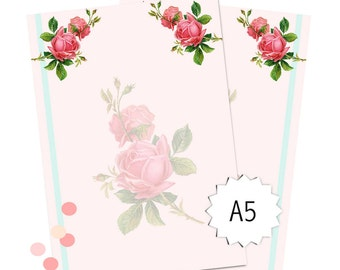 planner inserts a5 - instant download - printable vintage rose planner pages - commercial use allowed - pink roses - blank planner pages
