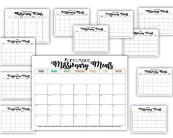 Missionary Meals Calendar Sign Up - 2018, 2019, 2020 Monthly Calendars