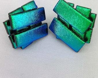 Green-Dichroic Glass Stud Earrings-925 Silver