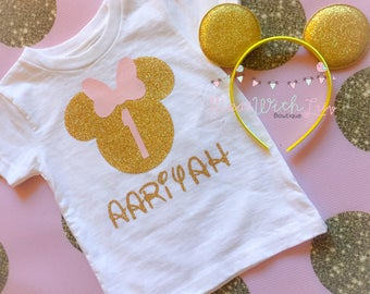 Light Pink and Gold Glitter Minnie Mouse Birthday Shirt