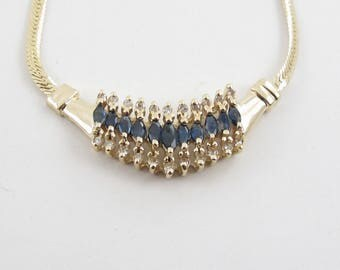 """14k Yellow Gold Diamond And Sapphire necklace 16"""" 1.45 carats"""