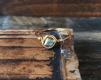 Wire wrapped ring - gold filled ring - gemstone ring - pyrite ring - dainty ring - stacking ring - silver ring