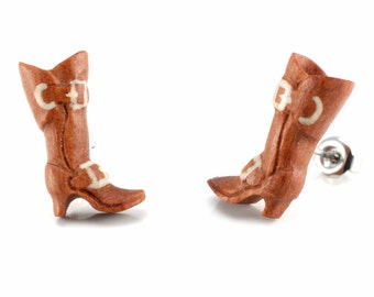 """Hand Carved- """"Boots"""" - Sabo Wood with Bone Inlay Stud Earring - Urban Sole"""