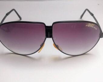 Vintage Ferarri folding sunglasses aviator 80s plum