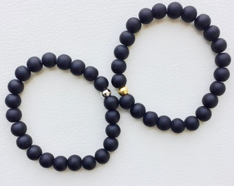 Matte glass bracelet, layering bracelet with gold or silver bead, bracelet with matte beads