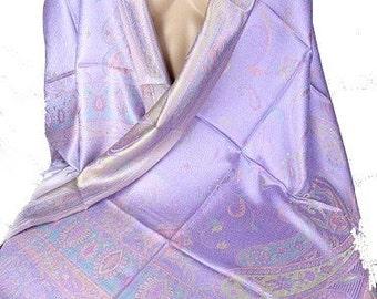 PASHMINA SILK SCARF purple gold mulberry silk, silk shawl scarf stole boho chic aps31