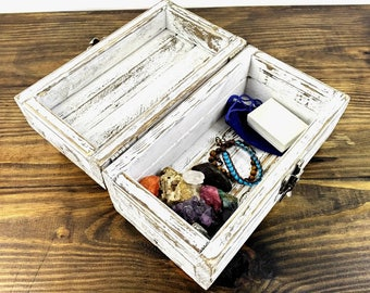 Shabby Painted Wooden Box for Small Storage - Cottage Chic Distressed White Box with Weathered Hardware - Handmade Little Keepsake Chest