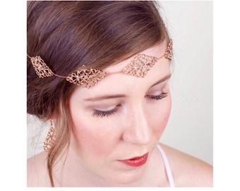 Rose Gold Bridal Filigree Hair Vine, Rose Gold Sash Belt Crown, Rose Gold Bridal Halo, Rose Gold Hair Vine, Headpiece 4(RG)